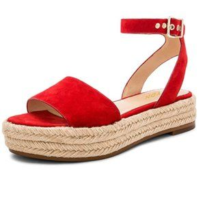 YDN Red Ankle Strap Wedge Low Heel Sandals